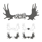 """Hand drawn vintage antlers. """"Stay wild"""" quote"""