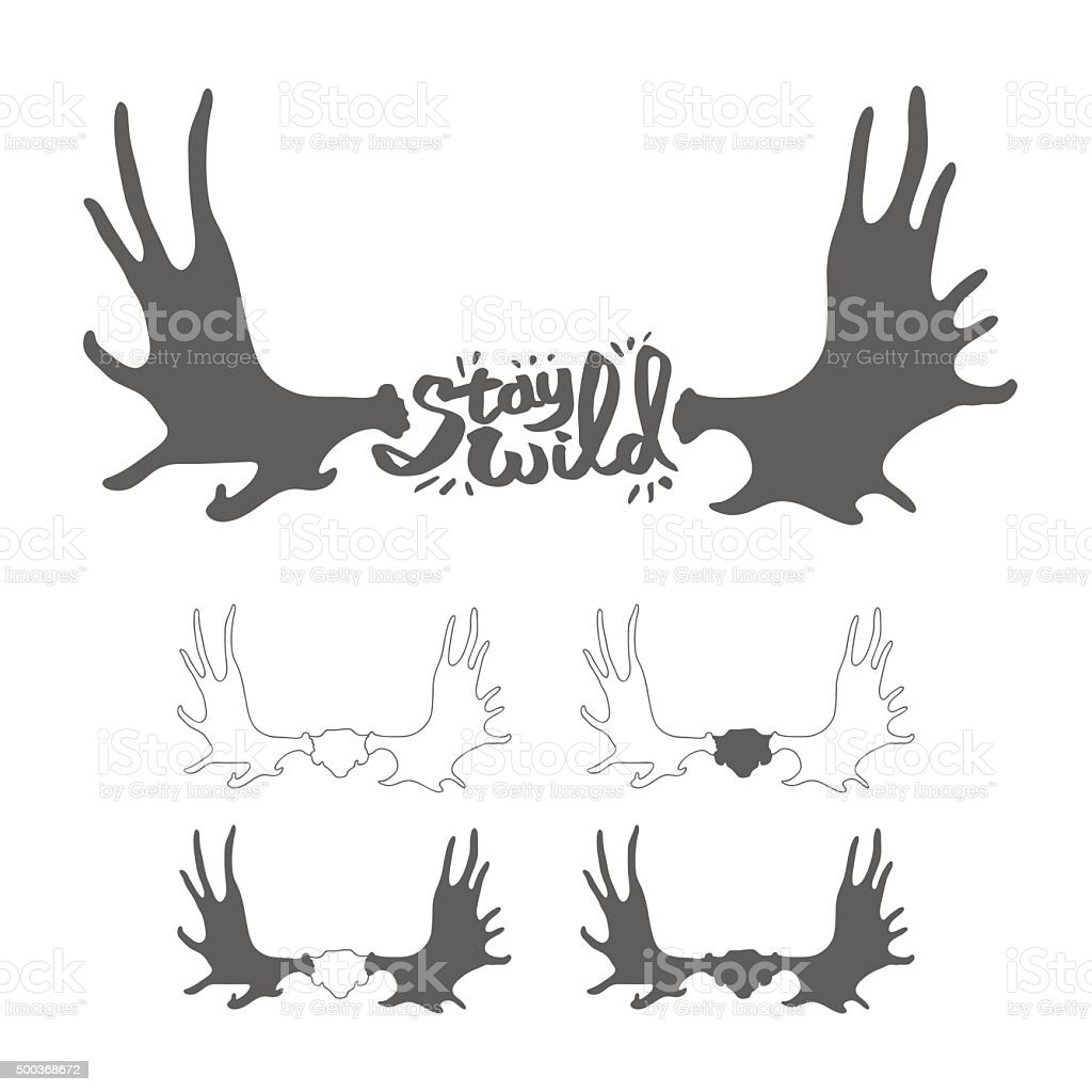 Hand drawn vintage antlers. 'Stay wild' quote vector art illustration