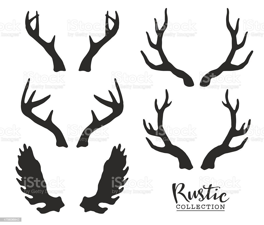 Hand drawn vintage antlers. vector art illustration