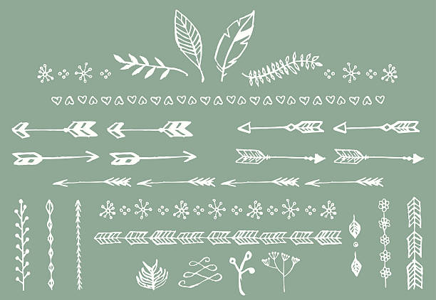 Hand drawn vintage arrows and other floral elements vector art illustration