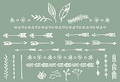 Hand drawn vintage arrows and other floral elements