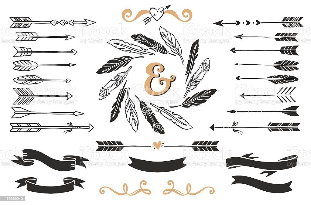 Dibujo A Mano Vintage Flechas Cintas De Plumas Y Con