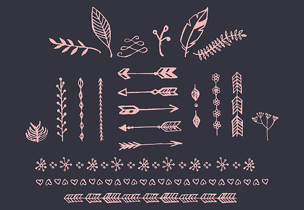 Hand drawn vintage arrows, feathers, dividers and floral elements vector art illustration
