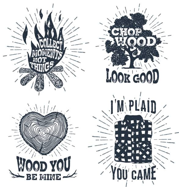 hand drawn vintage badges set with textured bonfire, oak tree, tree trunk, and plaid shirt vector illustrations. - plaid shirt stock illustrations