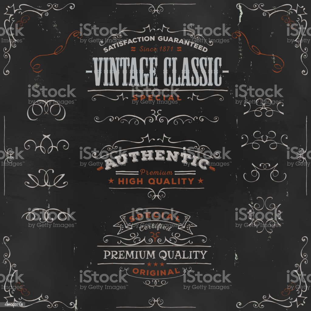 Hand Drawn Vintage Banners And Ribbons On Chalkboard vector art illustration