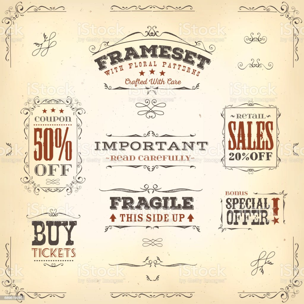 Hand Drawn Vintage Banners And Ribbons vector art illustration