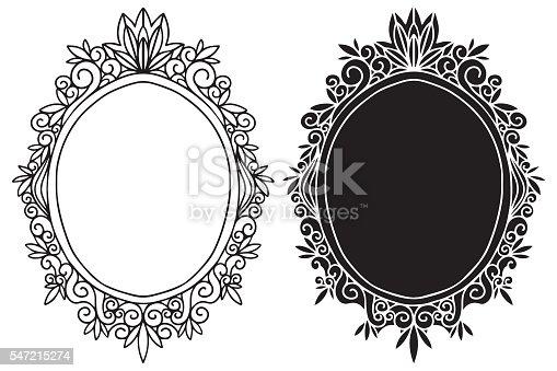 Hand Drawn Vintage Black Frames Mirror Set Stock Vector