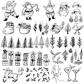 Hand Drawn Vintage Christmas Elements including Santa, evergreens and many other items.