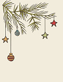 Hand Drawn Vintage Christmas Elements. Hand drawn with pen and paper then vectorized.