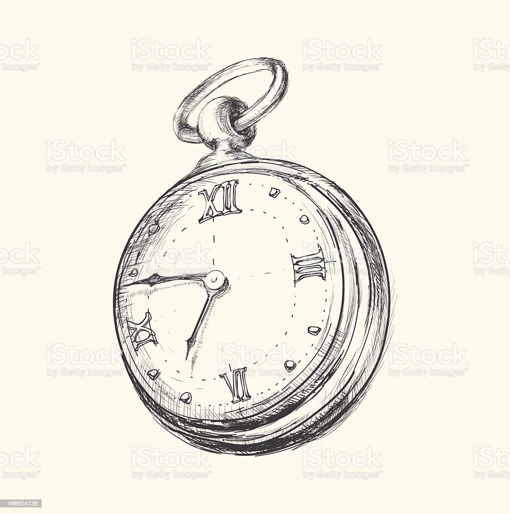 Hand drawn vintage clock sketch vector illustration vector art illustration