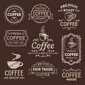 Set of hand drawn vintage coffee labels. Hi res jpeg included. Scroll down to see more illustrations linked below.