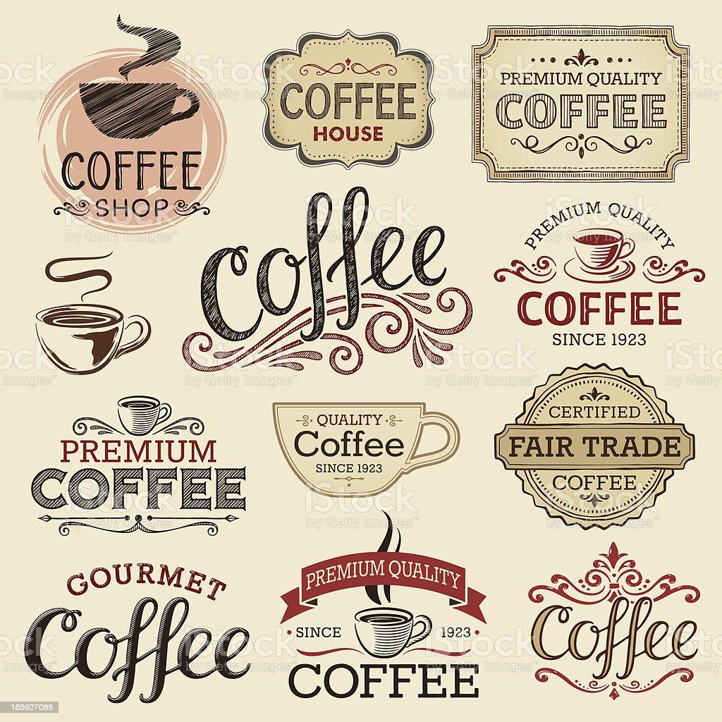 Hand Drawn Vintage Coffee Labels Stock Illustration ...