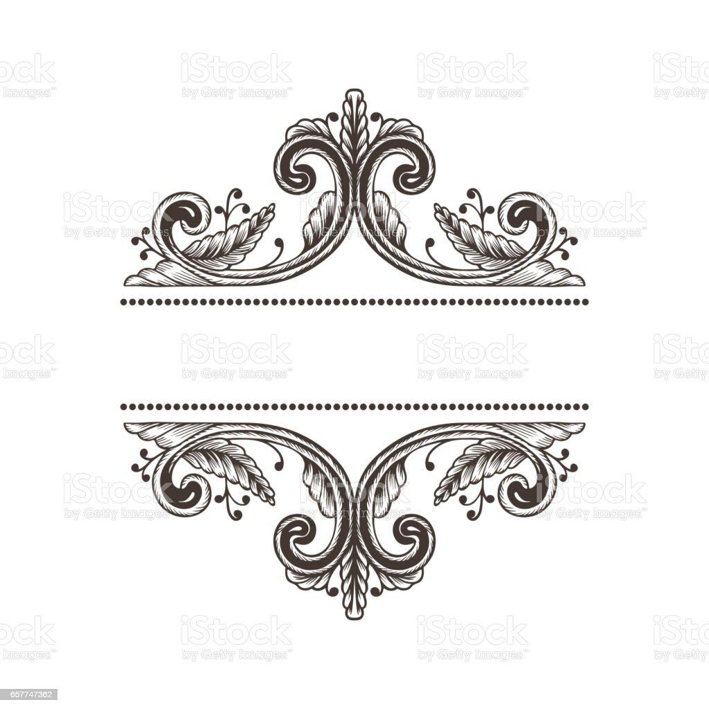 Hand Drawn Vintage Damask Ornamental Elements For Design Baroque ...