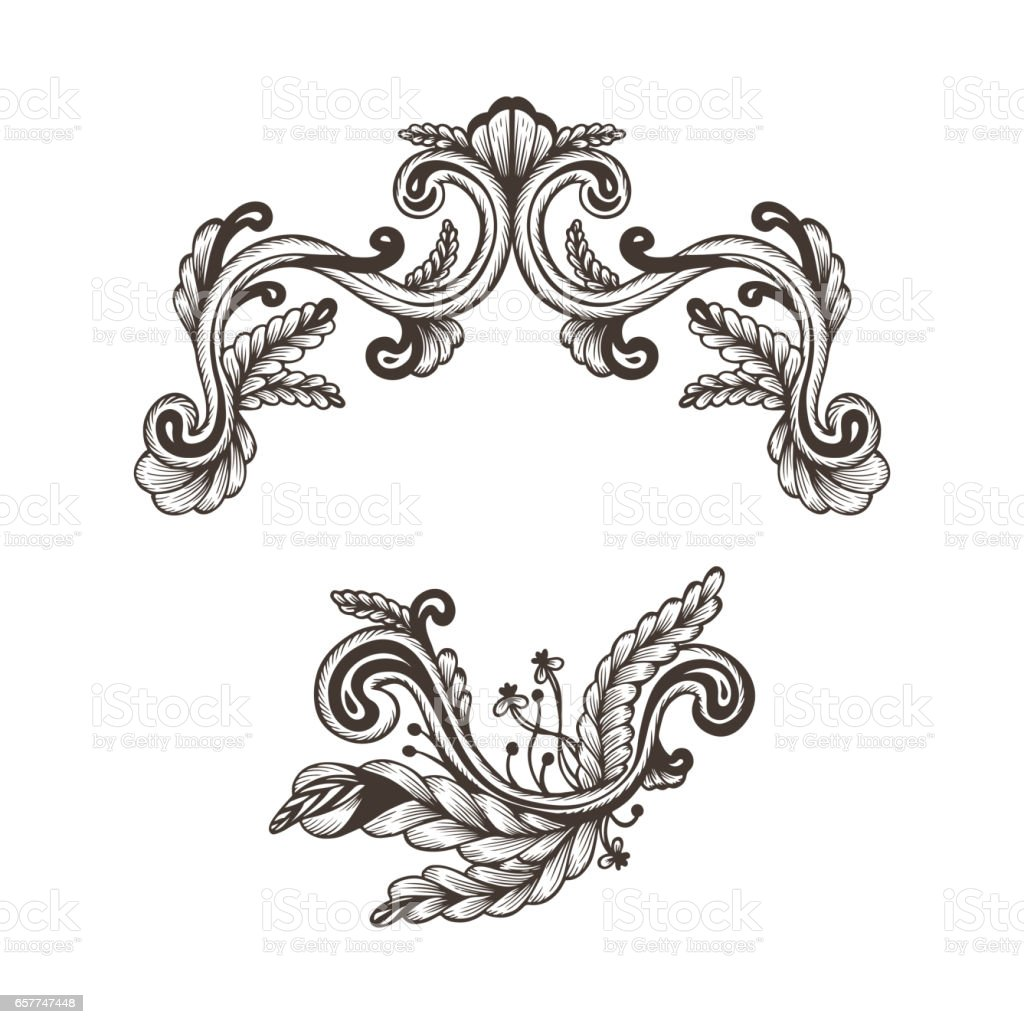 Hand drawn vintage damask ornamental elements for design for Baroque design elements