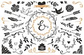 Romantic vector design wedding set.