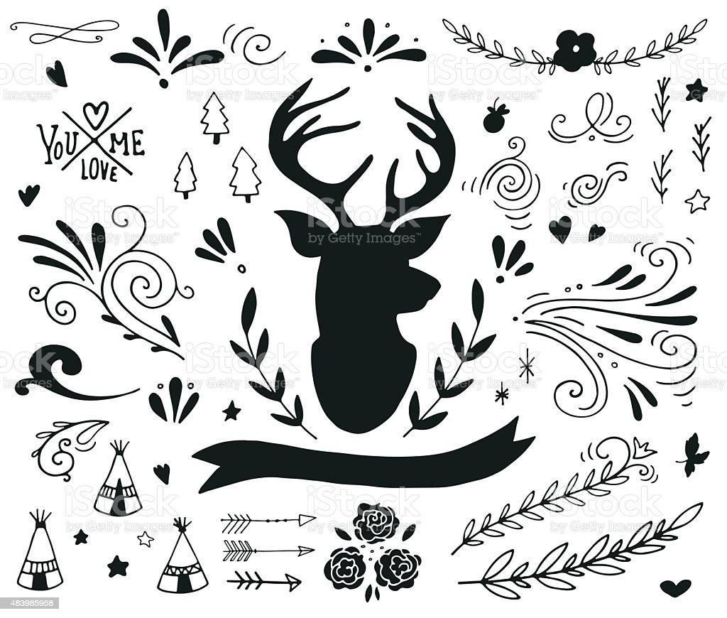 Hand drawn vintage design elements with a reindeer