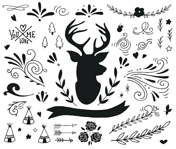 Hand drawn vintage design elements with a reindeer vector art illustration