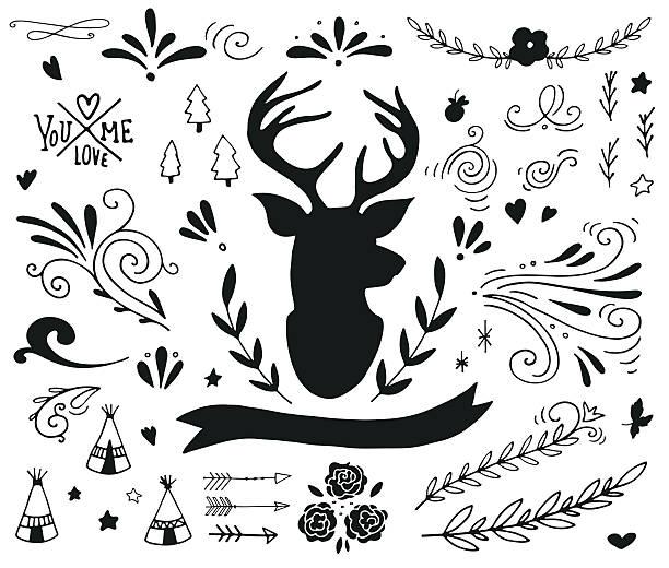 illustrations, cliparts, dessins animés et icônes de éléments de design dessinés à la main vintage avec un motif de rennes - renne