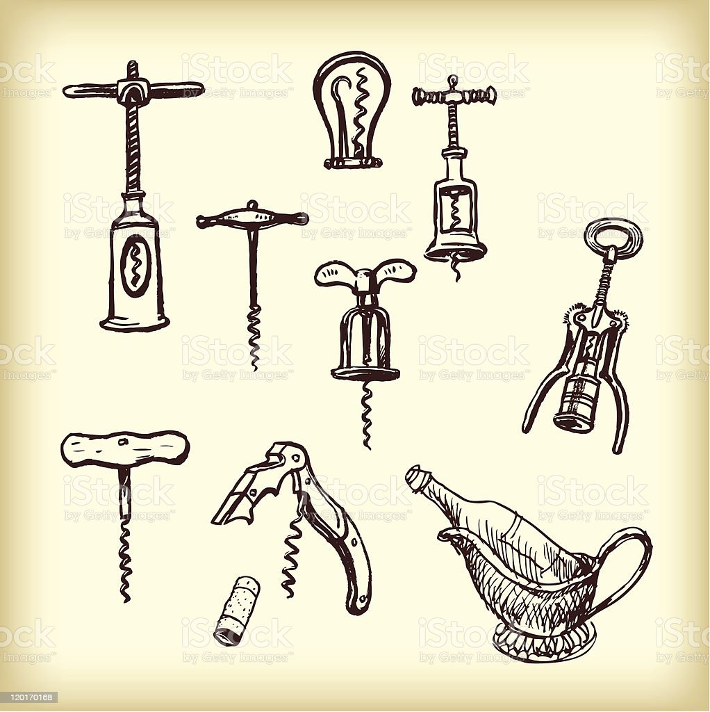 Hand drawn vintage  different cork screws royalty-free hand drawn vintage different cork screws stock vector art & more images of alcohol