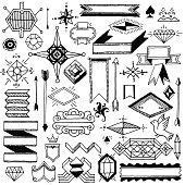 Hand drawn vintage doodle abstract design elements. Vector illustration.
