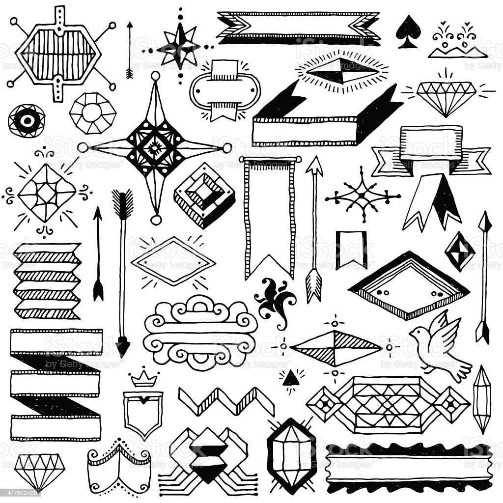 Dibujados a mano garabatos abstractos vintage elementos de diseño. Ilustración vectorial. - ilustración de arte vectorial