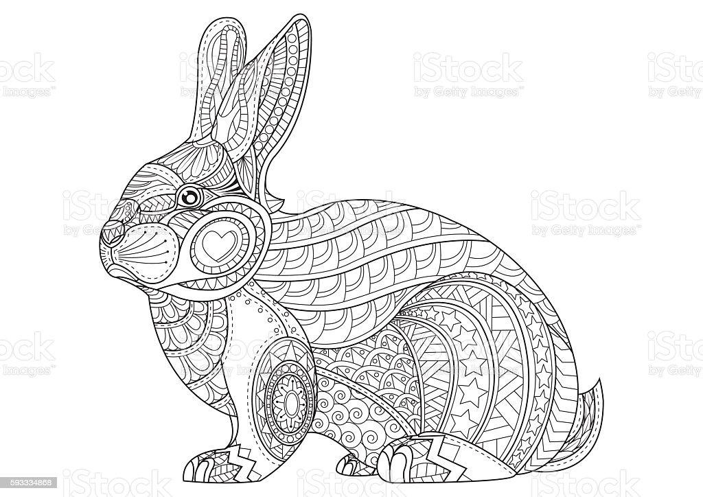 Kleurplaten Dieren Schatig Hand Drawn Vintage Doodle Bunny Vector Illustration For
