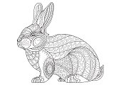 Hand Drawn vintage doodle bunny vector illustration for Easter.