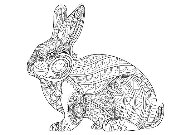 Hand Drawn vintage doodle bunny vector illustration for Easter. Coloring Page rabbit. Hand Drawn vintage doodle bunny vector illustration for Easter. Sketch for tattoo. Animal collection. animal markings stock illustrations