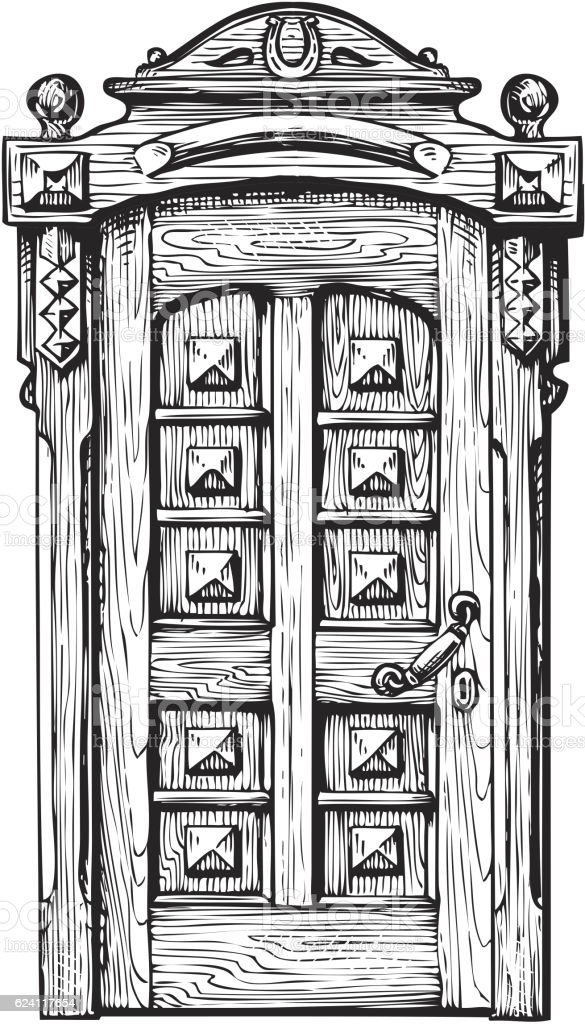 Hand Drawn Vintage Door Sketch Vector Illustration Royalty Free