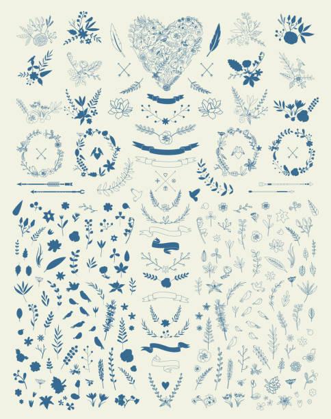 hand drawn vintage floral elemente.  satz von blumen.  dekorative elemente - rosenpflanzen stock-grafiken, -clipart, -cartoons und -symbole
