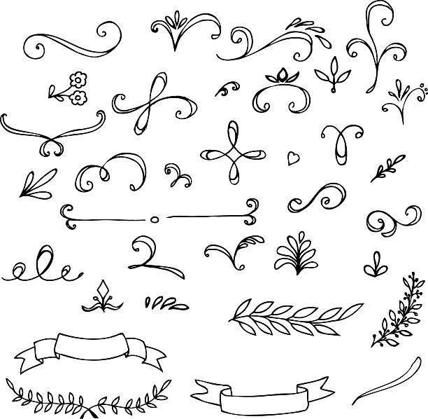 ilustraciones, imágenes clip art, dibujos animados e iconos de stock de dibujados a mano elementos vintage floral - marcos de garabatos y dibujados a mano