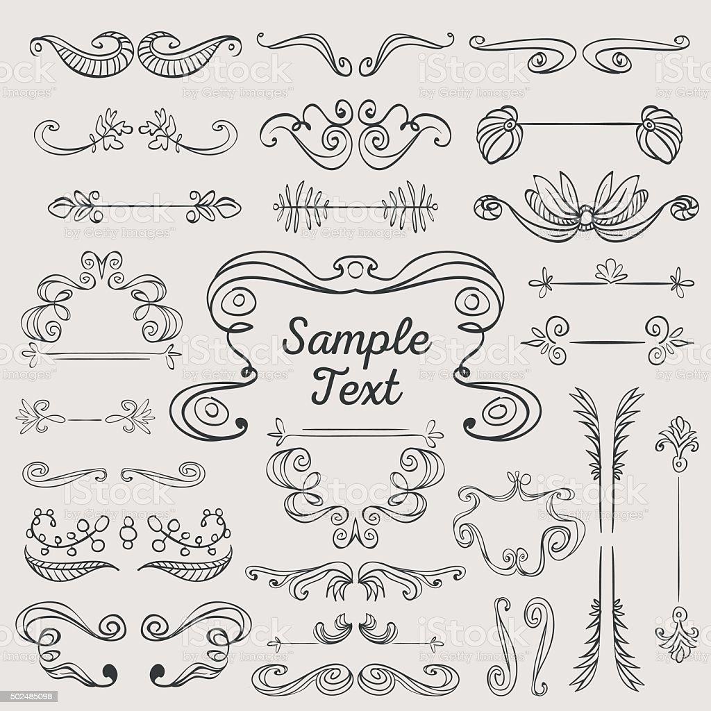 Ilustración de Dibujados A Mano Vintage Marcos Y Ornamentos y más ...