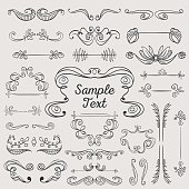 Set of hand drawn retro vintage frames, ornaments and banners