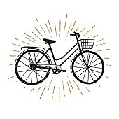 Hand drawn vintage icon with bicycle vector illustration