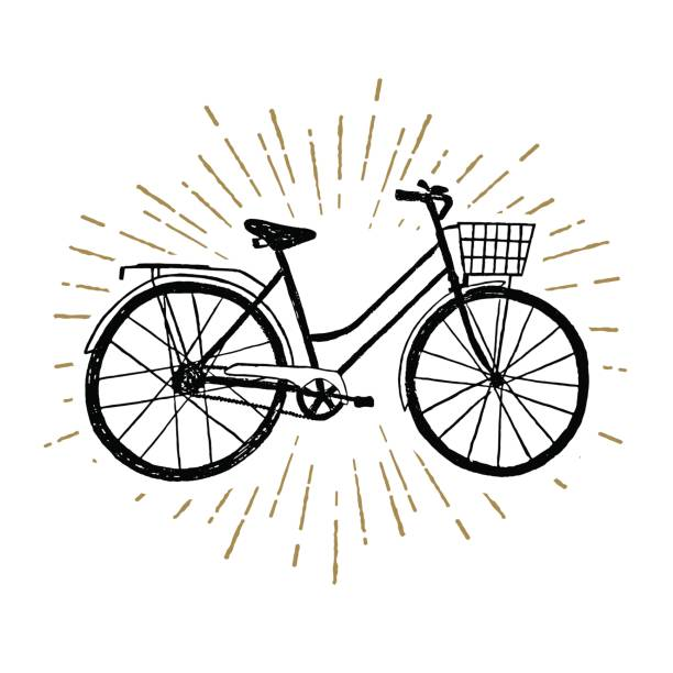 hand drawn vintage icon with bicycle vector illustration - bike stock illustrations, clip art, cartoons, & icons