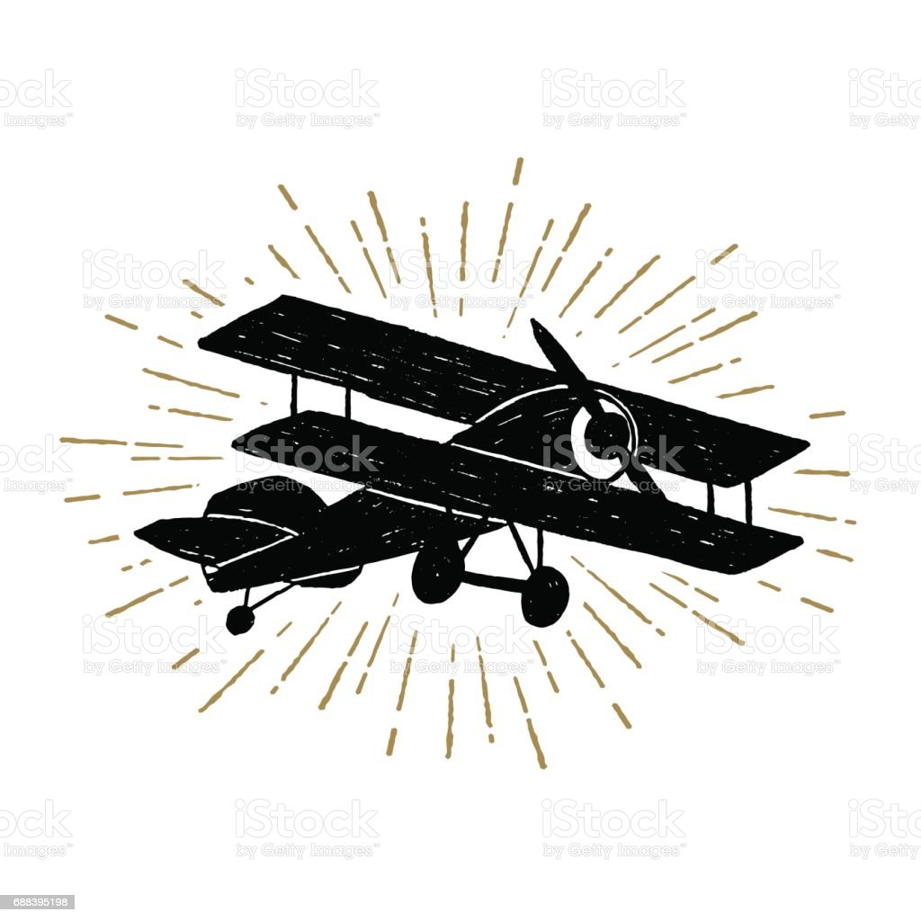 Hand drawn vintage icon with biplane vector illustration vector art illustration