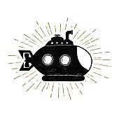 Hand drawn vintage icon with submarine vector illustration.