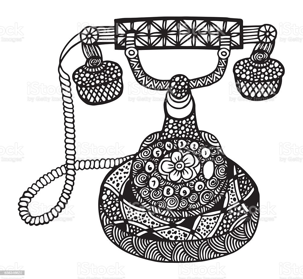 hand drawn vintage isolated rotary dial telephone sketch stock