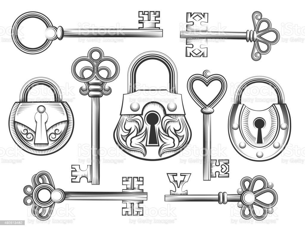 D Line Drawings Key : Dessinés à la main vintage vector ensemble clé et serrure