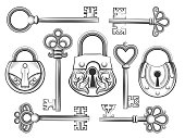 Hand drawn vintage key and lock vector set