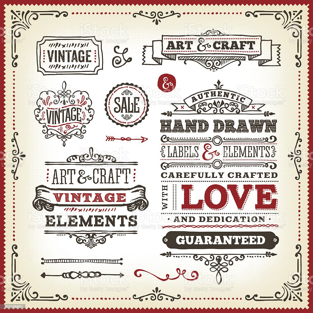 Hand Drawn Vintage Label Set vector art illustration