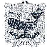 Hand drawn vintage label with a whale and lettering