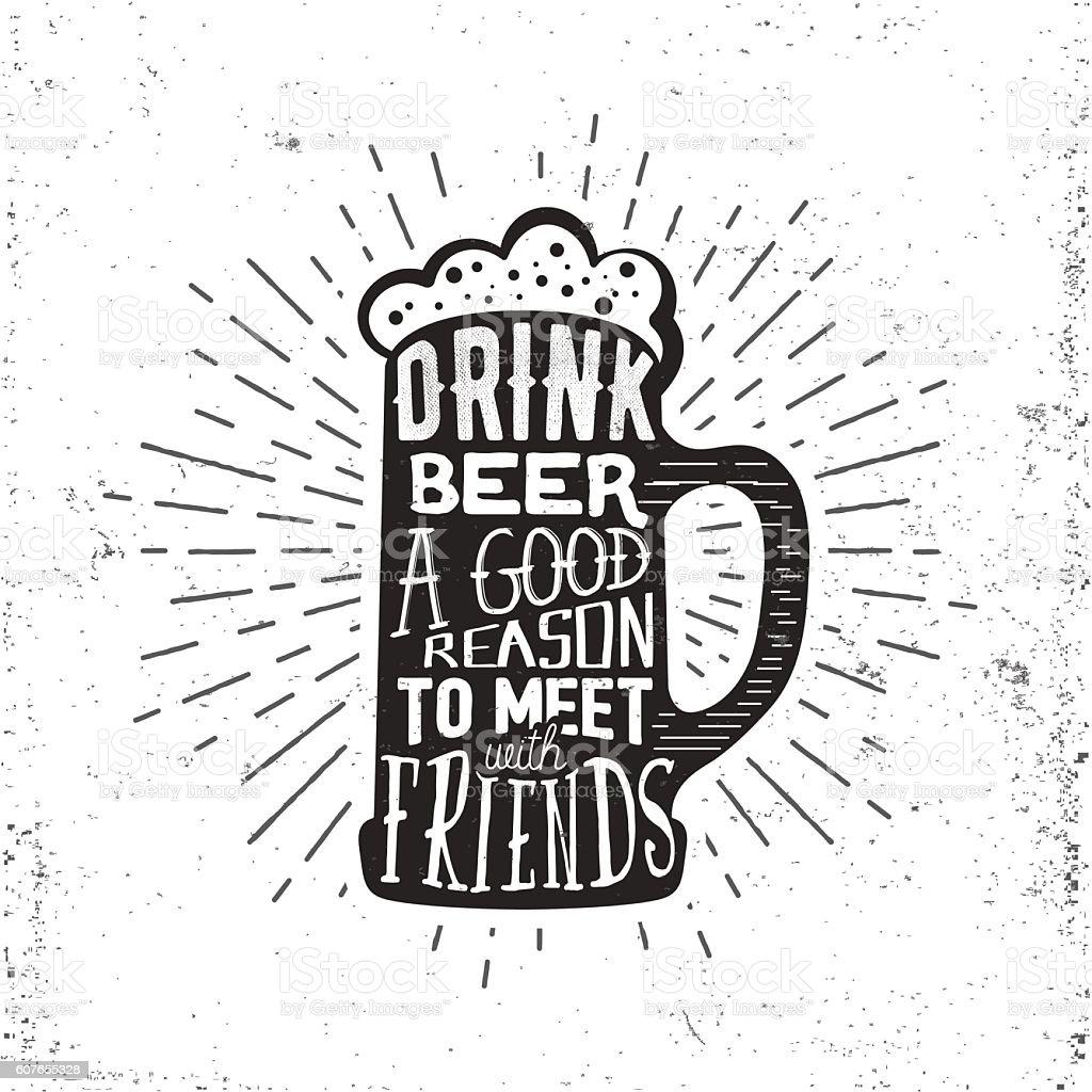 Hand drawn vintage label with beer mug, sunburst and lettering. vector art illustration
