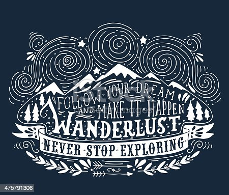 Hand drawn vintage label with mountains, forest and lettering. This illustration can be used as a print on T-shirts and bags.