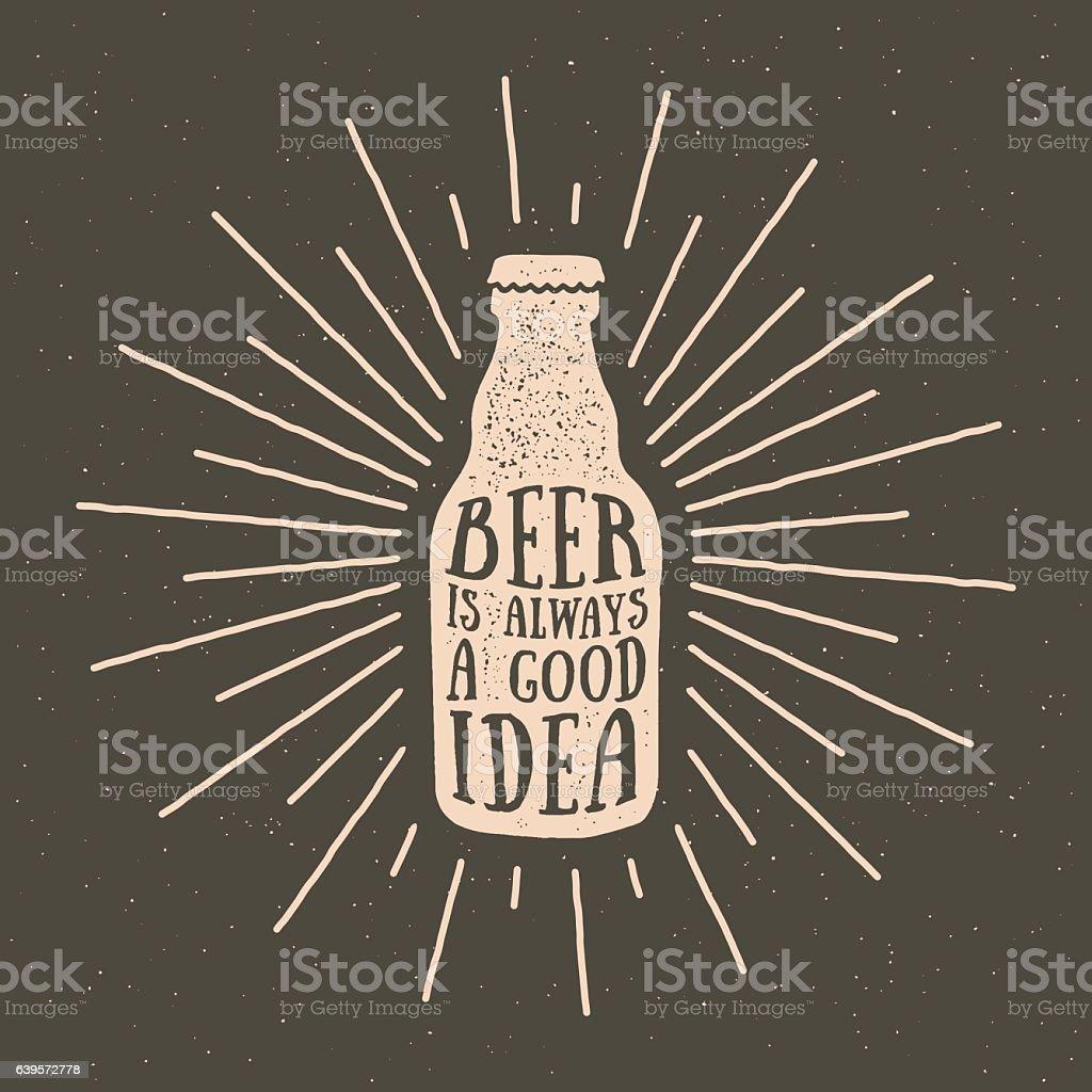 hand drawn vintage label with textured beer bottle illustration – Vektorgrafik