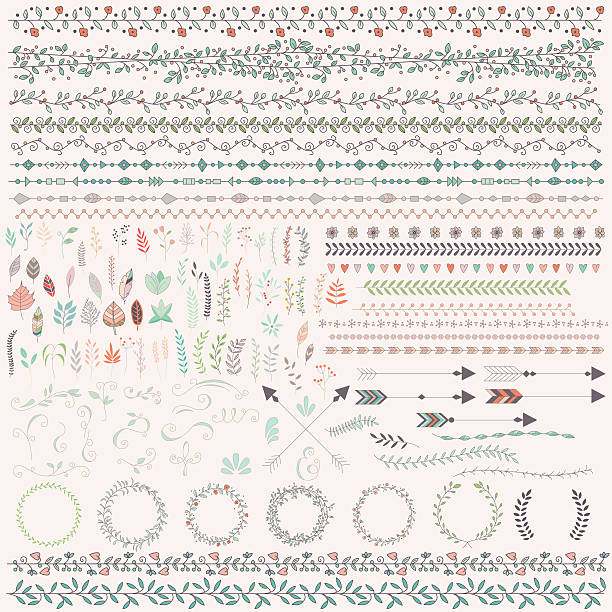 Hand drawn vintage leaves, arrows, feathers, wreaths, dividers, ornaments vector art illustration