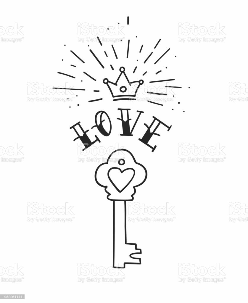 64f049983a797 Hand drawn vintage love key with heart and crown in traditional tattoo  style. Vector illustration - Illustration .