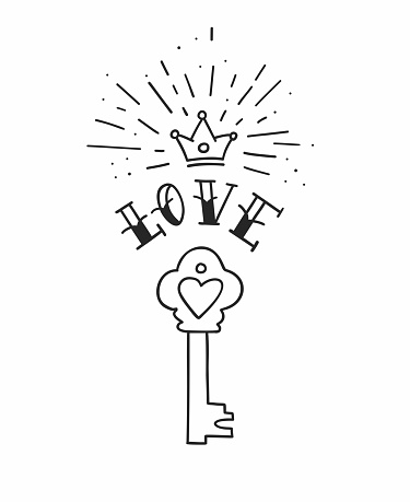4992d0563e480 ... Hand Drawn Vintage Love Key With Heart And Crown In Traditional Tattoo  Style Vector Illustration Stock