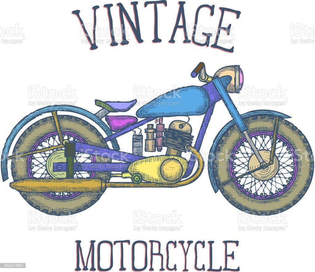 Hand Gezeichnet Vintage Motorrad Vektor Icon Designvorlage Vektor ...