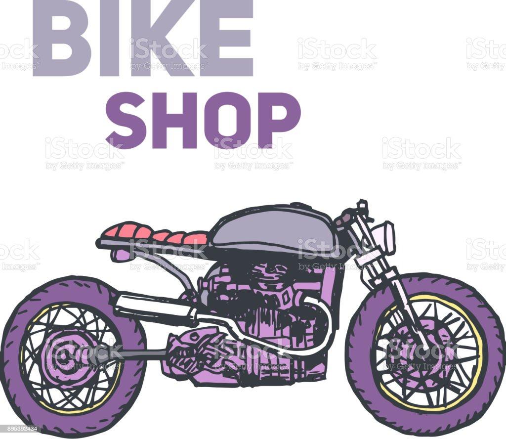 Hand Gezeichnet Vintage Motorrad Vektorlogo Designvorlage Bikeshop ...